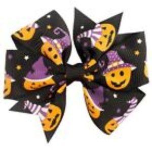 2pcs  Girls Halloween Pumpkin Hair Bow